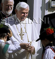 Pope Benedict XVI leaves the major seminary of Bressanone, where he spent his vacation to return to Rome. .August 11, 2008.
