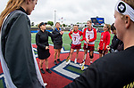 STONY BROOK, NY - MAY 27: A general view of the captain's meeting ahead of the Boston College Eagles playing the James Madison Eagles during the Division I Women's Lacrosse Championship held at Kenneth P. LaValle Stadium on May 27, 2018 in Stony Brook, New York. (Photo by Ben Solomon/NCAA Photos via Getty Images)