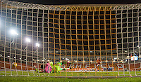 Goalkeeper Jamal Blackman of Wycombe Wanderers saves the final penalty to send his team through in front of an near empty stadium during the The Checkatrade Trophy match between Blackpool and Wycombe Wanderers at Bloomfield Road, Blackpool, England on 10 January 2017. Photo by Andy Rowland / PRiME Media Images.