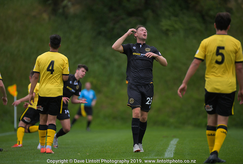 Team Wellington's Sam Mason-Smith reacts to a missed chance during the ISPS Handa Premiership football match between Team Wellington and Wellington Phoenix Reserves at David Farrington Park in Wellington, New Zealand on Sunday, 17 November 2019. Photo: Dave Lintott / lintottphoto.co.nz