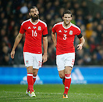 Joe Ledley and Adam Matthews of Wales during the international friendly match at the Cardiff City Stadium. Photo credit should read: Philip Oldham/Sportimage