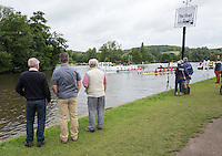 Henley on Thames. United Kingdom.  A sprinkling of spectators at the start. Wednesday,  29/06/2016,   09:09:14   2016 Henley Royal Regatta, Henley Reach.   [Mandatory Credit Peter Spurrier/ Intersport Images]
