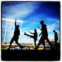 KANSAS CITY, MO - OCTOBER 28: Instagram of the San Francisco Giants working out before Game 6 of the World Series against the Kansas City Royals at Kauffman Stadium on October 28, 2014 in Kansas City, Missouri. Photo by Brad Mangin