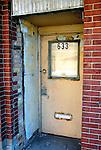 Side door of DesPlaines Theatre on Miner st.