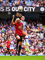 20190907 – MANCHESTER, ENGLAND: Manchester United's Millie Turner and Manchester City's Georgia Stanway pictured during the match between Manchester City Women and Manchester United Women, first game for both of the teams in the Barclays FA Women's Super League , Saturday  7th September 2019 at the Ethiad Stadium, Manchester. PHOTO SPORTPIX.BE | Sevil Oktem