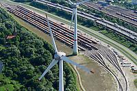 GERMANY Hamburg Altenwerder, two 6 MW Enercon E-126 windmill, cargo railway / DEUTSCHLAND Hamburg Hafen, zwei Enercon E-126 mit 6 MW Windkraftanlagen in Altenwerder