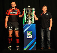 London, England. Steve Borthwick of Saracens poses with Saracens Head coach Mark McCall with the Heineken Cup during the UK Heineken Cup and Amlin Challenge Cup season launch at SKY Studios on October 1, 2012 in London, England.