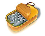 Illustration of open canned fish over white background