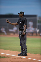 Home plate umpire Demetrius Hicks during an Arizona League game between the AZL Padres 1 and the AZL Padres 2 at Peoria Sports Complex on July 14, 2018 in Peoria, Arizona. The AZL Padres 1 defeated the AZL Padres 2 4-0. (Zachary Lucy/Four Seam Images)