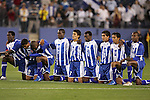 20 March 2008: Honduras players watch a teammate take a penalty kick. From left: Ramon Nunez (HON) (10), Oscar Morales (HON) (21), Georgie Wilson Welcome (HON) (24), Quiarol Arzu (HON) (2), Rigoberto Padilla (HON) (7), Erick Norales (HON) (5), Irvin Reyna (HON) (8), Marvin Sanchez (HON) (16), Jose Cesar Guity (HON) (18). The Honduras U-23 Men's National Team defeated the Guatemala U-23 Men's National Team 6-5 on penalty kicks after a 0-0 overtime tie at LP Field in Nashville,TN in a semifinal game during the 2008 CONCACAF Men's Olympic Qualifying Tournament. With the penalty kick victory, Honduras qualifies for the 2008 Beijing Olympics.