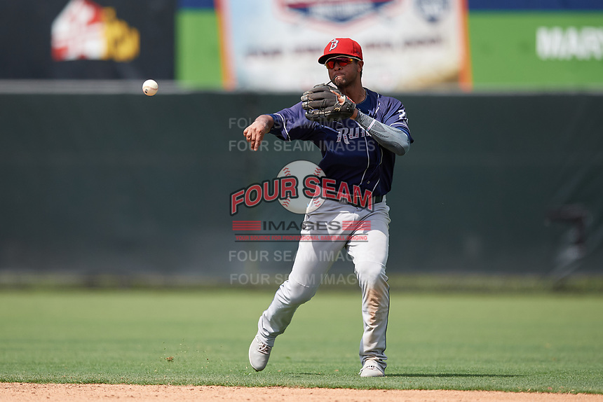 Binghamton Rumble Ponies shortstop Luis Carpio (21) throws to first base during an Eastern League game against the Bowie Baysox on August 21, 2019 at Prince George's Stadium in Bowie, Maryland.  Bowie defeated Binghamton 7-6 in ten innings.  (Mike Janes/Four Seam Images)