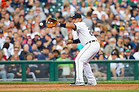 Detroit Tigers third baseman Miguel Cabrera (24) fields a ground ball against the Tampa Bay Rays at Comerica Park on June 4, 2013 in Detroit, Michigan.  The Tigers defeated the Rays 10-1.  Brian Westerholt/Four Seam Images