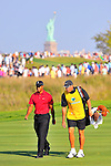 30 August 2009: Tiger Woods and caddie Steve Williams during the final round of The Barclays PGA Playoffs at Liberty National Golf Course in Jersey City, New Jersey.