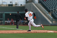 Oregon State Beavers third baseman Jake Dukart (15) rounds first base during a game against the New Mexico Lobos on February 15, 2019 at Surprise Stadium in Surprise, Arizona. Oregon State defeated New Mexico 6-5. (Zachary Lucy/Four Seam Images)