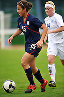 US Women's National Team forward Casey Nogueira attacks the goal in the 2010 Algarve Cup game vs Finand in Vila Real Sto. Antonion, Portugal.