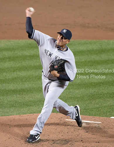 New York Yankees pitcher Freddy Garcia (36) pitches in the second inning against the Baltimore Orioles at Oriole Park at Camden Yards in Baltimore, MD on Tuesday, April 10, 2012..Credit: Ron Sachs / CNP.(RESTRICTION: NO New York or New Jersey Newspapers or newspapers within a 75 mile radius of New York City)