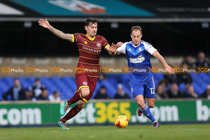 Luke Varney of Ipswich Town and Grant Hall of QPR during Ipswich Town vs Queens Park Rangers, Sky Bet EFL Championship Football at Portman Road on 26th November 2016