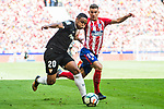 Luis Muriel (l) of Sevilla FC fights for the ball with Lucas Hernandez of Atletico de Madrid during the La Liga 2017-18 match between Atletico de Madrid and Sevilla FC at the Wanda Metropolitano on 23 September 2017 in Wanda Metropolitano, Madrid, Spain. Photo by Diego Gonzalez / Power Sport Images