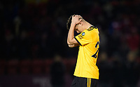 Wolverhampton Wanderers U21's Ryan Giles reacts after his penalty miss<br /> <br /> Photographer Chris Vaughan/CameraSport<br /> <br /> The EFL Checkatrade Trophy Northern Group H - Lincoln City v Wolverhampton Wanderers U21 - Tuesday 6th November 2018 - Sincil Bank - Lincoln<br />  <br /> World Copyright © 2018 CameraSport. All rights reserved. 43 Linden Ave. Countesthorpe. Leicester. England. LE8 5PG - Tel: +44 (0) 116 277 4147 - admin@camerasport.com - www.camerasport.com<br /> <br /> Photographer Chris Vaughan/CameraSport<br /> <br /> The EFL Checkatrade Trophy Northern Group H - Lincoln City v Wolverhampton Wanderers U21 - Tuesday 6th November 2018 - Sincil Bank - Lincoln<br />  <br /> World Copyright © 2018 CameraSport. All rights reserved. 43 Linden Ave. Countesthorpe. Leicester. England. LE8 5PG - Tel: +44 (0) 116 277 4147 - admin@camerasport.com - www.camerasport.com