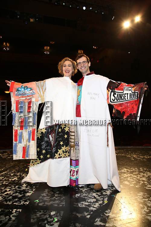 Joanna Glushak and Joseph Medeiros during the Actors' Equity Opening Night Gypsy Robe Ceremony honoring Joseph Medeiros for 'Groundhog Day' at the August Wilson Theatre on April 17, 2017 in New York City