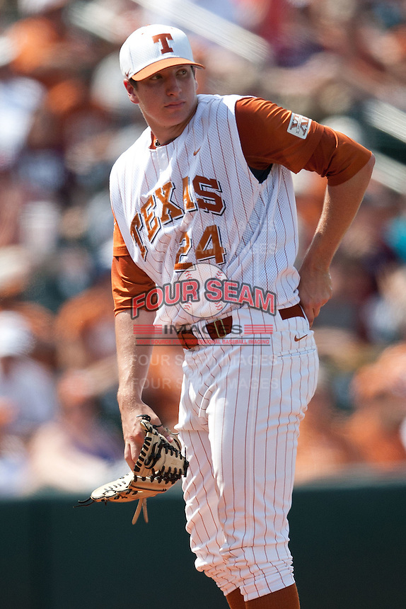 Texas Longhorns pitcher Parker French #24 during the NCAA baseball game against the Texas A&M Aggies on April 28, 2012 at UFCU Disch-Falk Field in Austin, Texas. The Aggies beat the Longhorns 12-4. (Andrew Woolley / Four Seam Images)...