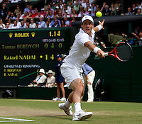 Tomas Berdych (CZE) (12) against Rafael Nadal (ESP) (1) in the final of the gentlemen's singles. Rafael Nadal beat Tomas Berdych 6-3 7-5 6-4..Tennis - Wimbledon Lawn Tennis Championships - Day 13 Sun 4th Jul 2010 -  All England Lawn Tennis and Croquet Club - Wimbledon - London - England..© FREY - AMN IMAGES  Level 1, Barry House, 20-22 Worple Road, London, SW19 4DH.TEL - +44 (0) 20 8947 0100.Email - mfrey@advantagemedianet.com.www.advantagemedianet.com