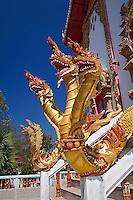 Three headed dragons guarding entrance, Wat Phra That Doi Suthep Rajvoravihara, Chiang Mai, Thailand