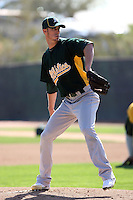 Clayton Mortensen. Oakland Athletics spring training workouts at the Athletics complex, Phoenix, AZ - 02/25/2010 & 02/26/2010.Photo by:  Bill Mitchell/Four Seam Images.
