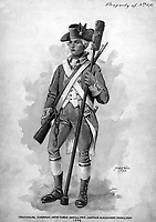 Provincial Company, New York Artillery.  Captain Alexander Hamilton 1776.  Watercolor by D.W.C. Falls, 1923. (U.S. Regular Army Mobile Units)<br />Exact Date Shot Unknown<br />NARA FILE #:  391-AR-2-1<br />WAR & CONFLICT #:  25