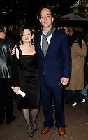 "SHARON MAGUIRE & MATTHEW MacFADYEN .At the ""Incendiary"" Screening during the Times BFI London Film Festival, Odeon West End,  London, England, UK, .October 18th 2008..full length black dress blue suit scarf brown shoes .CAP/CAN.©Can Nguyen/Capital Pictures"