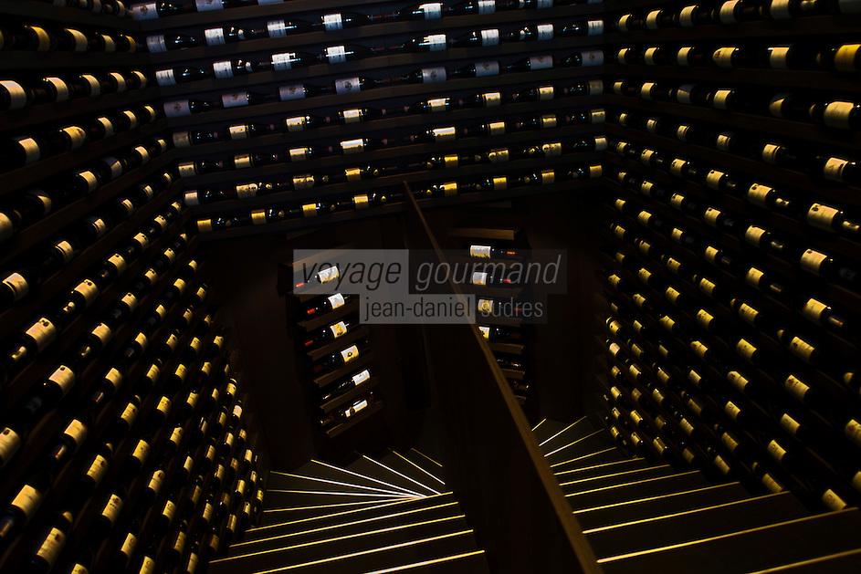 Europe/France/Rhone-Alpes/73/Savoie/Courchevel: restaurant: Il Vino -Escalier de la cave d' Enrico Bernardo, meilleur sommelier du monde