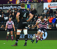 Photographer Dan Minto/CameraSport<br /> <br /> Guinness Pro14 Round 13 - Ospreys v Cardiff Blues - Saturday 6th January 2018 - Liberty Stadium - Swansea<br /> <br /> World Copyright &copy; 2018 CameraSport. All rights reserved. 43 Linden Ave. Countesthorpe. Leicester. England. LE8 5PG - Tel: +44 (0) 116 277 4147 - admin@camerasport.com - www.camerasport.com