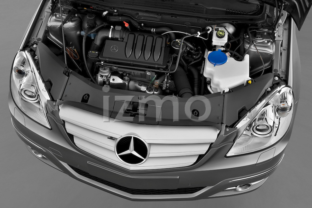High angle engine detail of a 2009 Mercedes B Class Sport Mini MPV.