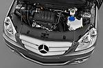 High angle engine detail of a 2009 Mercedes B Class Sport Mini MPV.