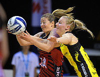 Anna Thompson and Katrina Grant compete for the ball during the ANZ Premiership netball match between the Central Pulse and Mainland Tactix at TSB Bank Arena in Wellington, New Zealand on Sunday, 9 April 2017. Photo: Dave Lintott / lintottphoto.co.nz