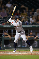 Clint Frazier (77) of the Scranton/Wilkes-Barre RailRiders at bat against the Charlotte Knights at BB&T BallPark on August 14, 2019 in Charlotte, North Carolina. The Knights defeated the RailRiders 13-12 in ten innings. (Brian Westerholt/Four Seam Images)