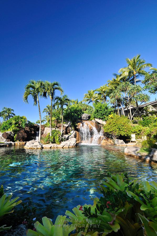 View of the pool and gardens at Hanalei Bay Resort, Kauai Hawaii
