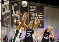 31.08.2016 Silver Ferns Phoenix Karaka and South Africa's Lenize Potgieter in action during the Netball Quad Series match between the Silver Ferns and South Africa played at Claudelands Arena in Hamilton. Mandatory Photo Credit ©Michael Bradley.