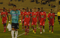 TUNJA - COLOMBIA -13 -03-2014: Los jugador de Patriotas FC, durante partido por la decima fecha  de la Liga Postobon I-2014, jugado en el estadio La Independencia de la ciudad de Tunja. / The players of Patriotas FC, during a match for the tenth date of the Liga Postobon I-2014 at the La Independencia  stadium in Tunja city, Photo: VizzorImage  / Jose M. Palencia / Str. (Best quality available)