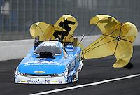 Feb 7, 2015; Pomona, CA, USA; NHRA funny car driver John Force during qualifying for the Winternationals at Auto Club Raceway at Pomona. Mandatory Credit: Mark J. Rebilas-USA TODAY Sports