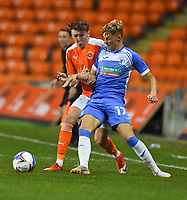Blackpool's Nathan Shaw battles withBarrow's Morgan Penfold<br /> <br /> Photographer Dave Howarth/CameraSport<br /> <br /> EFL Trophy Northern Section Group G - Blackpool v Barrow - Tuesday 8th September 2020 - Bloomfield Road - Blackpool<br />  <br /> World Copyright © 2020 CameraSport. All rights reserved. 43 Linden Ave. Countesthorpe. Leicester. England. LE8 5PG - Tel: +44 (0) 116 277 4147 - admin@camerasport.com - www.camerasport.com