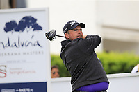 Shane Lowry (IRL) tees off the 1st tee during Saturday's rain delayed Round 2 of the Andalucia Valderrama Masters 2018 hosted by the Sergio Foundation, held at Real Golf de Valderrama, Sotogrande, San Roque, Spain. 20th October 2018.<br /> Picture: Eoin Clarke | Golffile<br /> <br /> <br /> All photos usage must carry mandatory copyright credit (&copy; Golffile | Eoin Clarke)