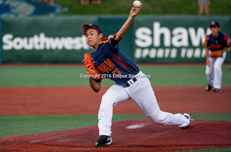 Aberdeen, MD - JULY 31: Kairi Matsumura #17 of Japan pitches during the game between Japan and Puerto Rico during the Cal Ripken World Series at The Ripken Experience Powered by Under Armour on July 31, 2016 in Aberdeen, Maryland. (Photo by Ripken Baseball/Eclipse Sportswire/Getty Images)