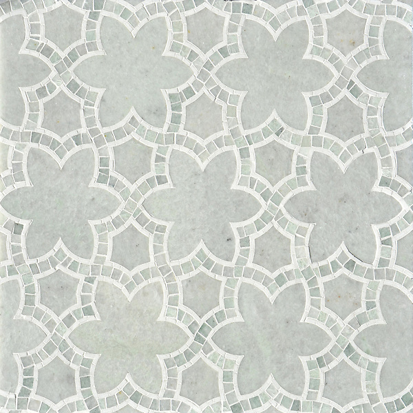 Reina, a waterjet and hand-cut mosaic shown in polished Ming Green and Thassos, is part of the Miraflores collection by Paul Schatz for New Ravenna. <br />