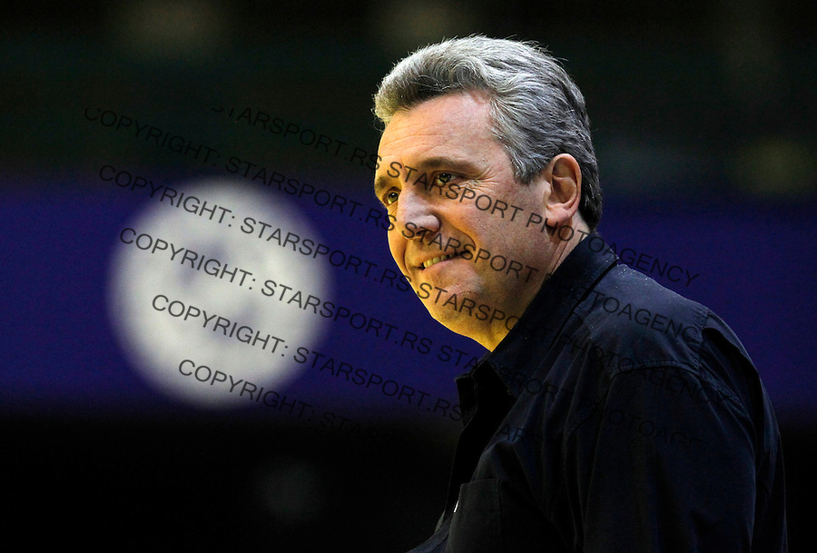 French national handball team head coach Claude Onesta smiles during EHF EURO 2012 handball championship game between Russia and France in Novi Sad, Serbia, Wednesday, January 18, 2011.  (photo: Pedja Milosavljevic / thepedja@gmail.com / +381641260959)