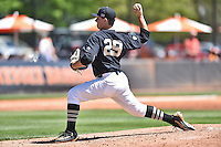 Vanderbilt Commodores starting pitcher Patrick Raby (29) delivers a pitch during a game agains against the Tennessee Volunteers at Lindsey Nelson Stadium on April 24, 2016 in Knoxville, Tennessee. The Volunteers defeated the Commodores 5-3. (Tony Farlow/Four Seam Images)