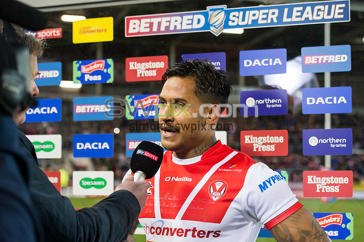 Picture by Allan McKenzie/SWpix.com - 02/02/2018 - Rugby League - Betfred Super League - St Helens v Castleford Tigers - The Totally Wicked Stadium, Langtree Park, St Helens, England - Ben Barba is interviewed post-match.