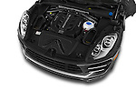 Car stock 2015 Porsche Macan Turbo 5 Door SUV engine high angle detail view