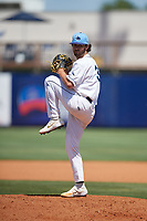 Charlotte Stone Crabs relief pitcher Miller Hogan (31) during a Florida State League game against the Dunedin Blue Jays on April 17, 2019 at Charlotte Sports Park in Port Charlotte, Florida.  Charlotte defeated Dunedin 4-3.  (Mike Janes/Four Seam Images)