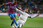 Real Madrid´s Sergio Ramos (R) and Levante´s El Zhar during La Liga match at Santiago Bernabeu stadium in Madrid, Spain. March 15, 2015. (ALTERPHOTOS/Victor Blanco)